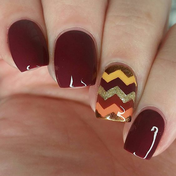 Fall Chevron Nail