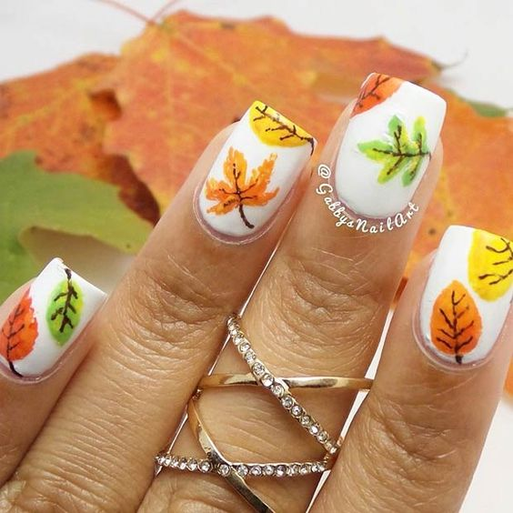 Falling Leaves On White Polish
