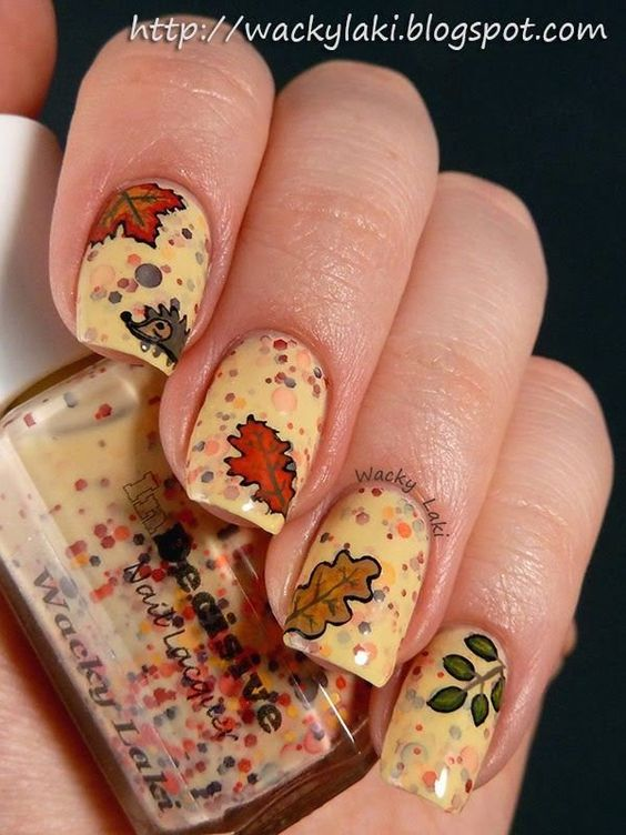 Fancy Leaves Nail Design