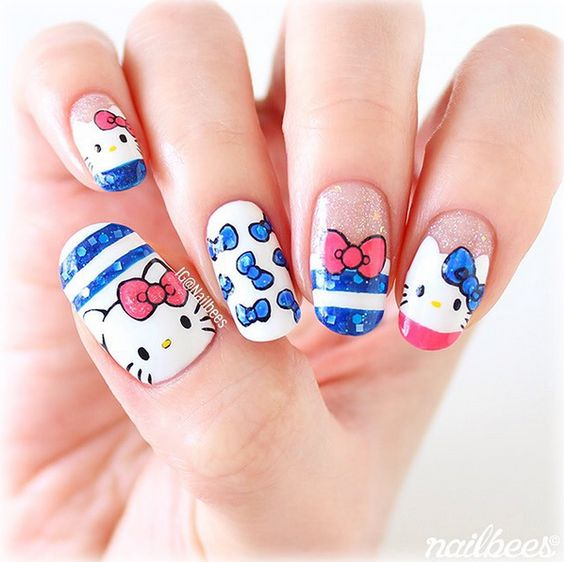 30 hyper cute hello kitty nails nail design ideaz 29fetching blue and white hello kitty nails prinsesfo Gallery