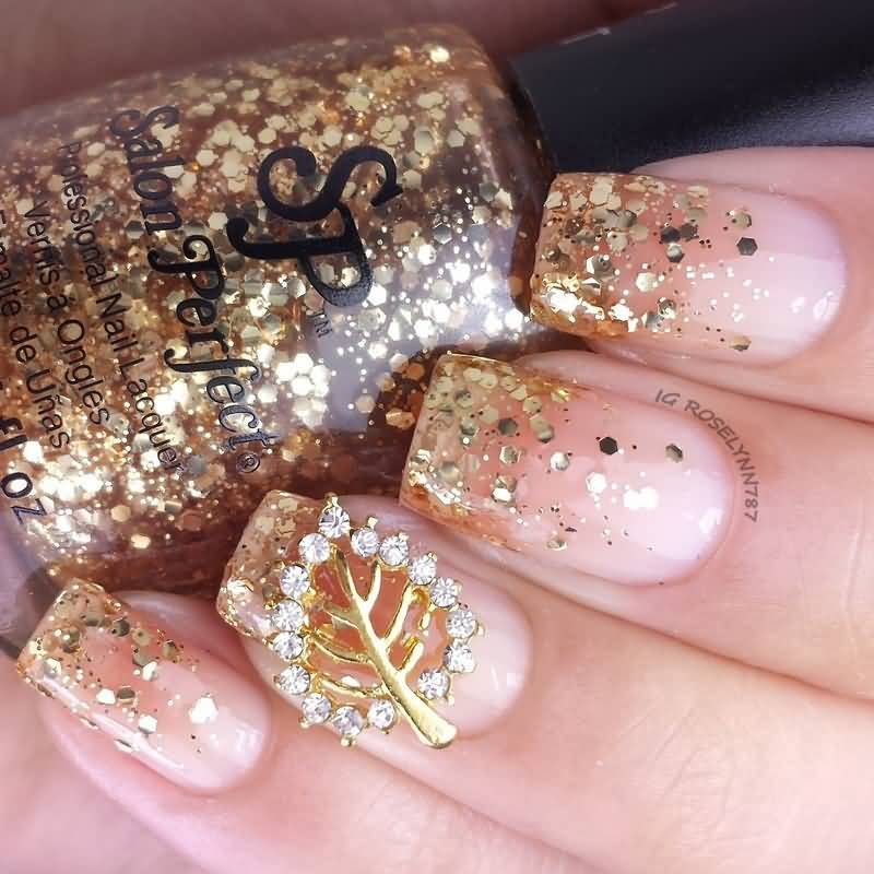 glitter-french-tip-autumn-nail-art