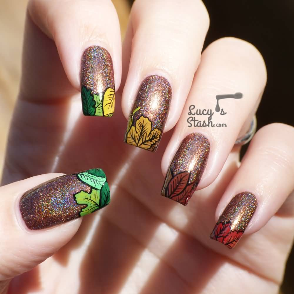 glitter-golden-autumn-leaf-3d-nail-art