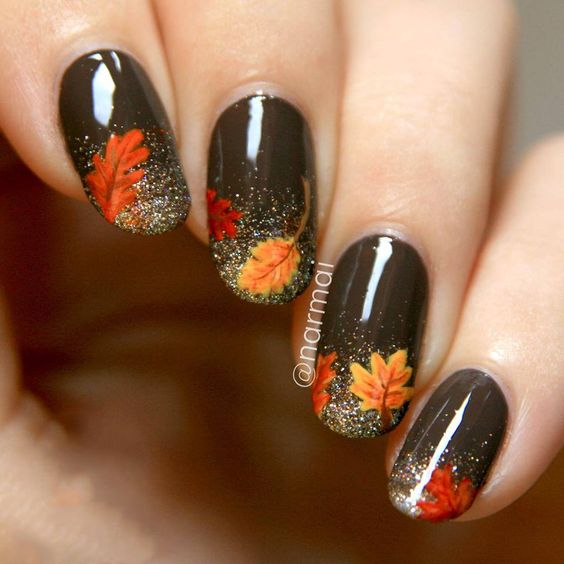 Glittered Leaves French Tips