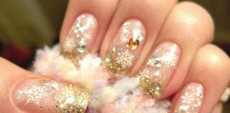 Gold Glitter Beaded Christmas Nail Art