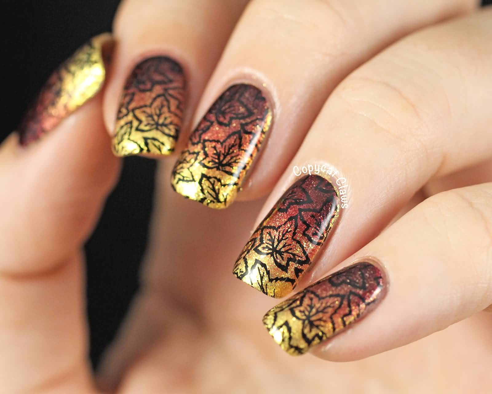 50 golden autumn nails nail design ideaz gold and brown with black autumn leaves nails prinsesfo Image collections