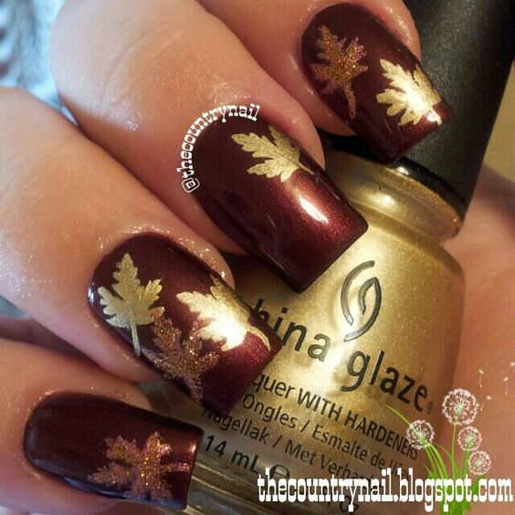 Golden Falling Leaves Nail Art