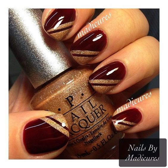 Golden Tips On Maroon Nails
