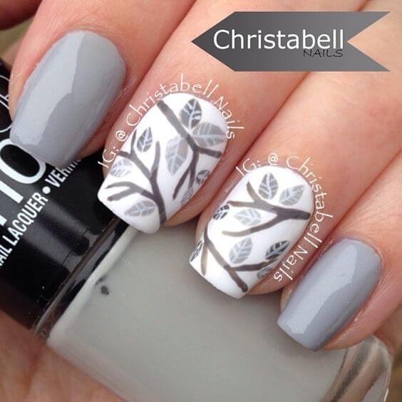 Gray Tree Branches On White Polish