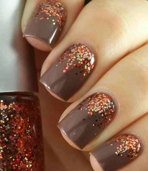 Half Moon Glitters Nail Design