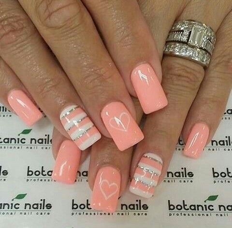 35Hearts And Stripes On Peach Nails - 37 Lovely Peach Color Nails Nail Design Ideaz