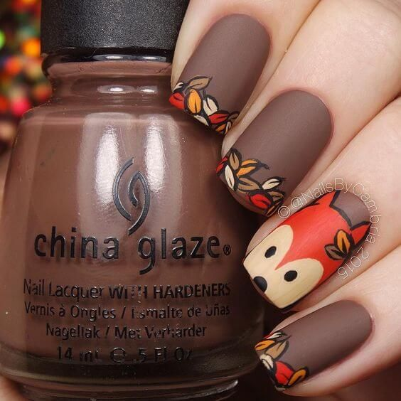Leaves French Manis On Matte Brown Nails
