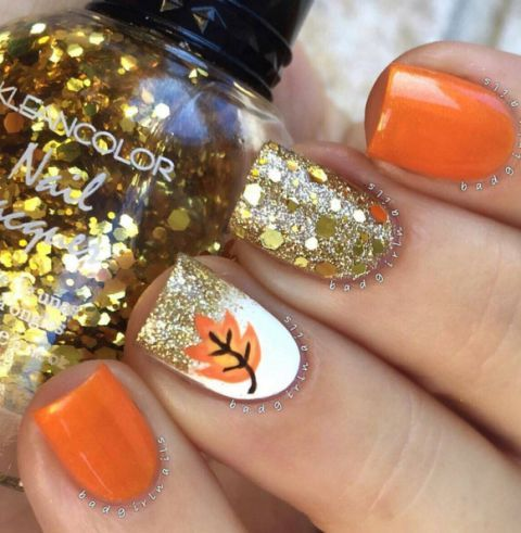 lovely-little-orange-autumn-leave-nails