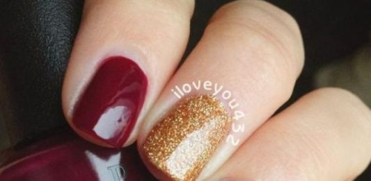 Maroon Chevron Thanksgiving Nails