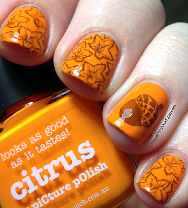 orange-with-chest-nut-nail-art