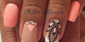 Ornament And Diamonds On Peach Nails