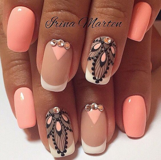- 37 Lovely Peach Color Nails Nail Design Ideaz