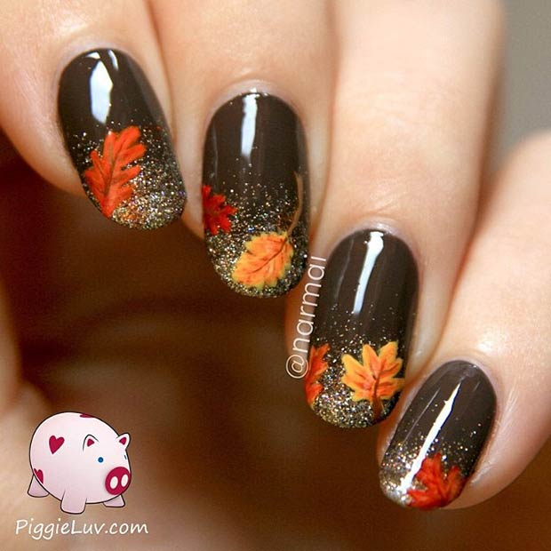 Oval Grey with Glitter Nail Designs - 50 Golden Autumn Nails Nail Design Ideaz