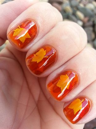 Pretty Maple Gel Nails