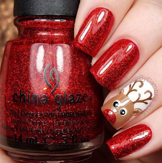 24rudolf with the red nose reindeer nails photo credit christmas - Red Christmas Nails