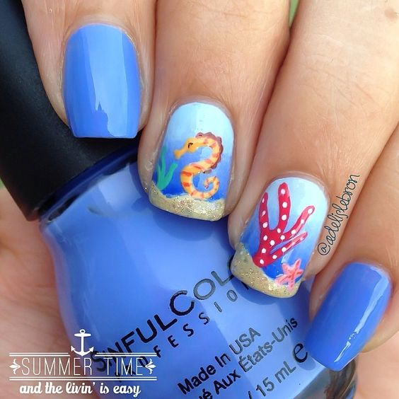 32 Gorgeous Nail Art Images Inspired By Summer Motifs: 42 Stunning Beach Nail Designs