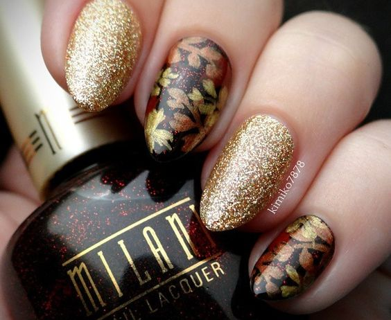 Shimmering Changing Leaves Nail Design