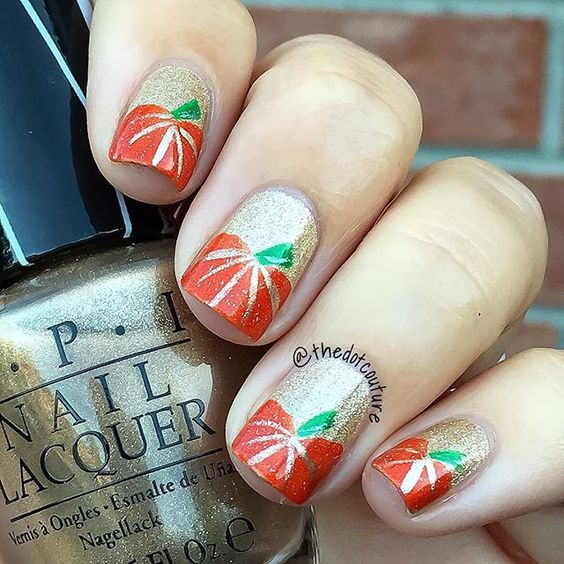 Shimmering Pumpkin Nails