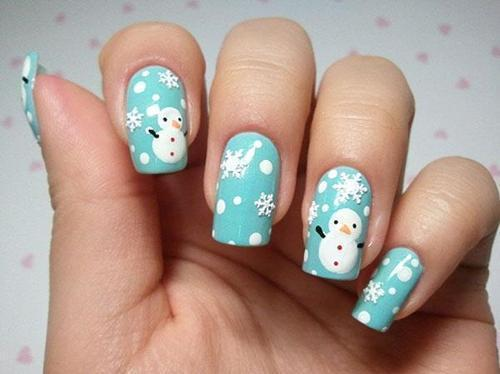 30Snowman Print On Blue Polish - 30 Merry Snowman Nails Nail Design Ideaz