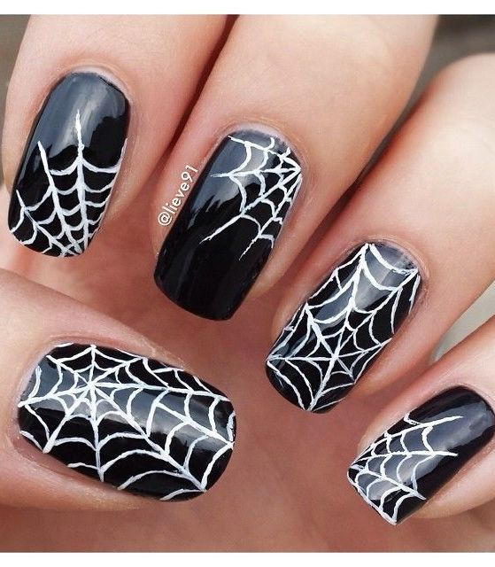 30 amazing spider web nails nail design ideaz 30spider halloween nail design prinsesfo Choice Image
