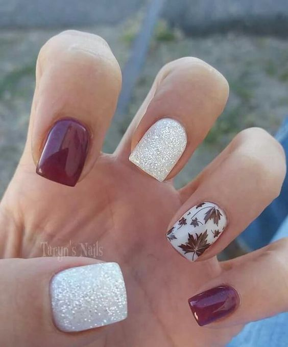 square-brown-autumn-leaves-with-white-background-nails