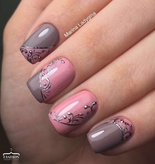 30Subtle Swirl Designs On Pink And Gray Nails - 30 Swirl Nail Art Nail Design Ideaz