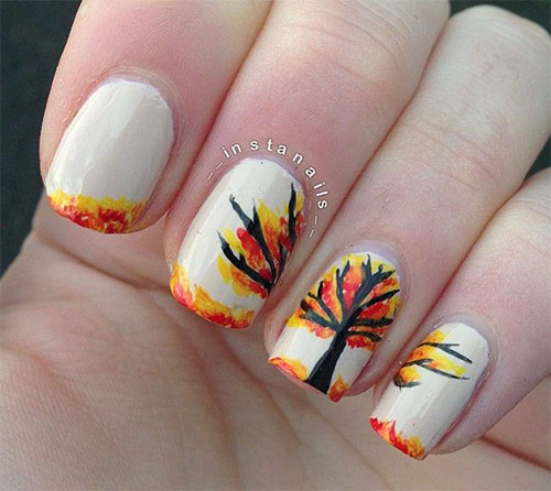 50 golden autumn nails nail design ideaz white base with black tree autumn nail prinsesfo Image collections