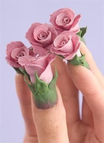 Amazing 3D Pink Roses Nails