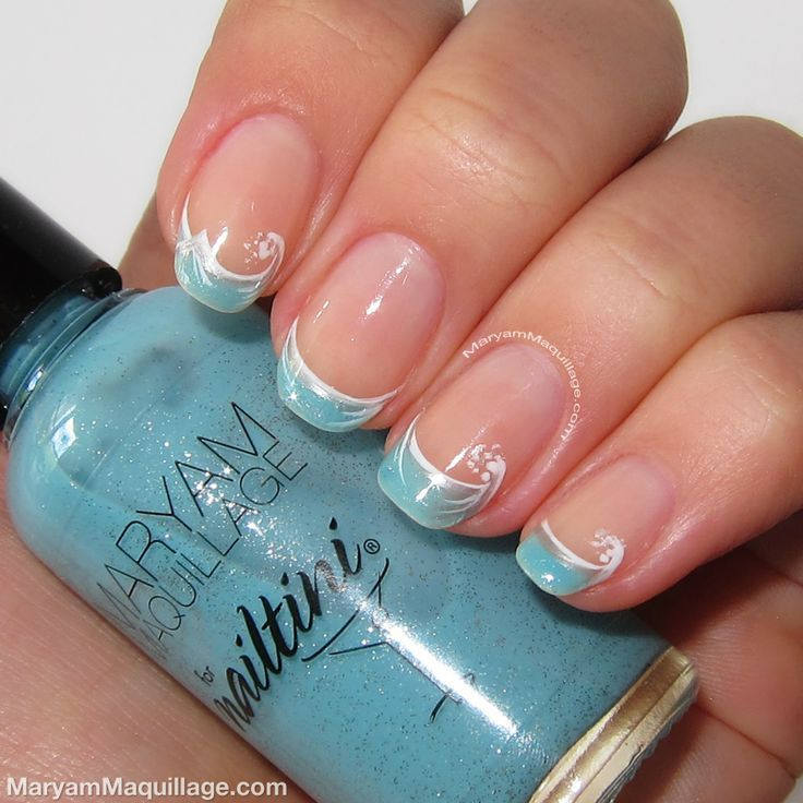 Prom Nail Ideas For Sea: 40 French Tip Nails With Design Art