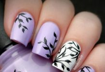 Botanical Light Purple Nail Art