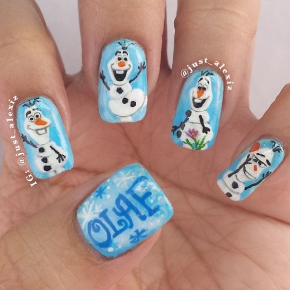 30Faces Of Olaf Nail Design - 30 Stunning Frozen Nail Art Nail Design Ideaz