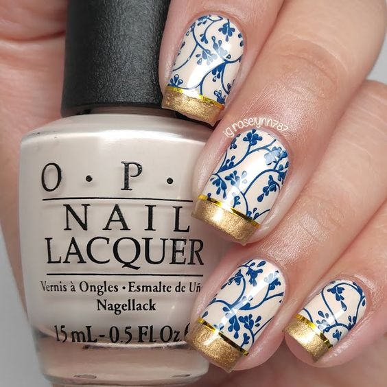 40 French Tip Nails with Design Art