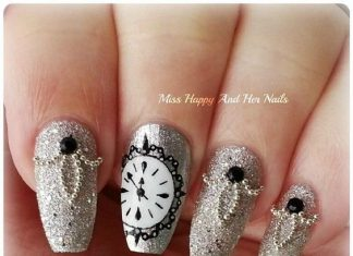 Glittered Clock Nail Art