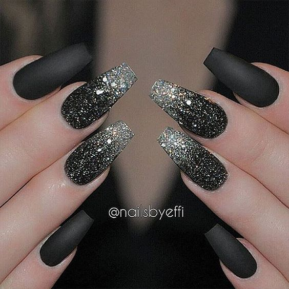40Glitters On Matte Black Nails - 40 Stunning Matte Black Nails Nail Design Ideaz