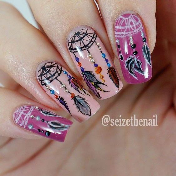 30Gorgeous Dream Catcher Design On Pink Nails - 30 Enchanting Dream Catcher Nail Designs Nail Design Ideaz