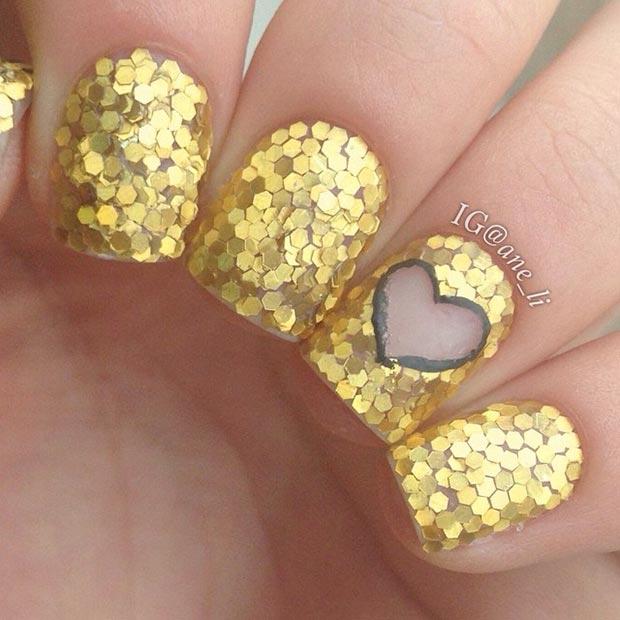 30 Gold Glitter Nails