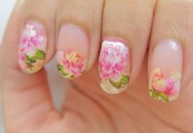 Intricate Peony On Nude Nails