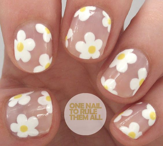 30 Lovely Daisy Nail Art Nail Design Ideaz