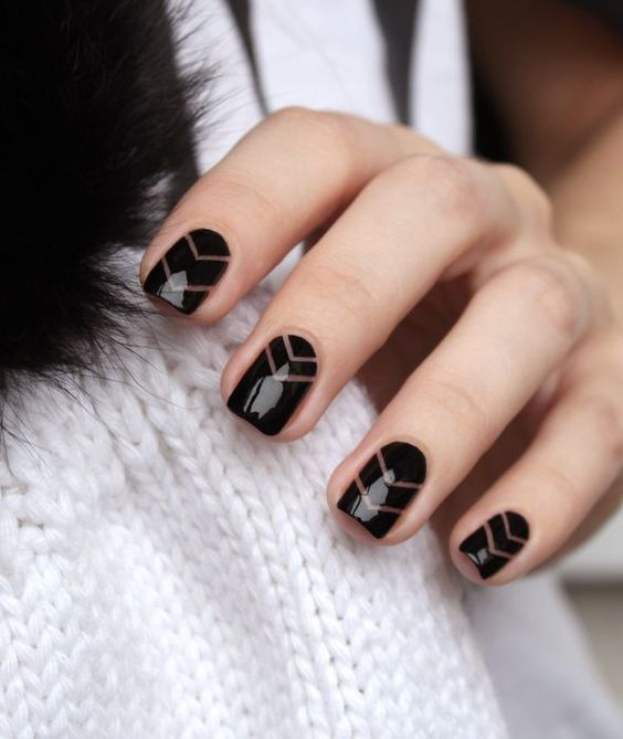 30 Edgy Black Nails With Design | Nail Design Ideaz