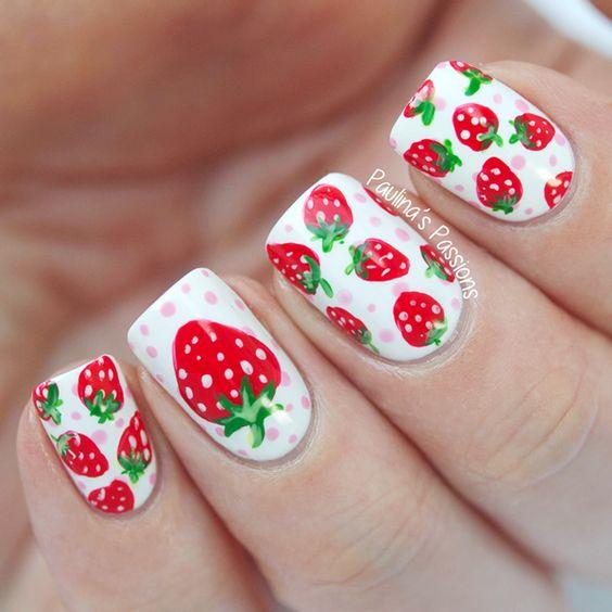 35 Tasty Strawberry Nails Nail Design Ideaz