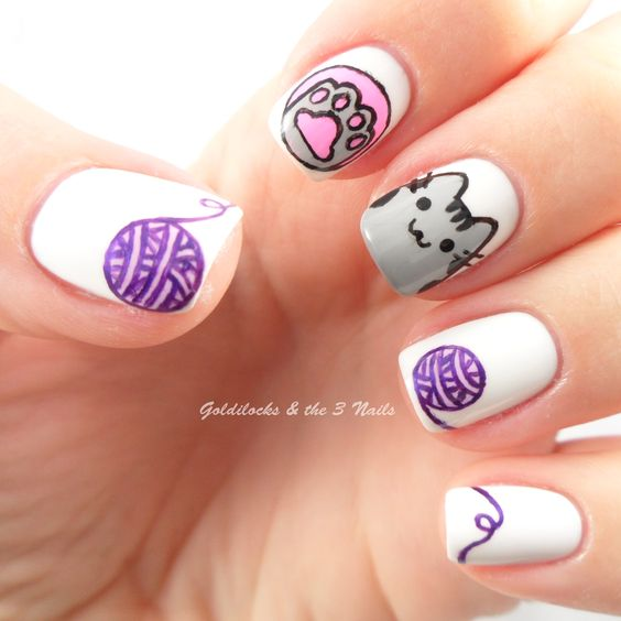 24Pu-sheen Nail - 25 Adorable Cat Nail Art Nail Design Ideaz