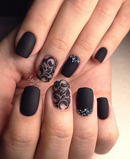 40 Stunning Matte Black Nails