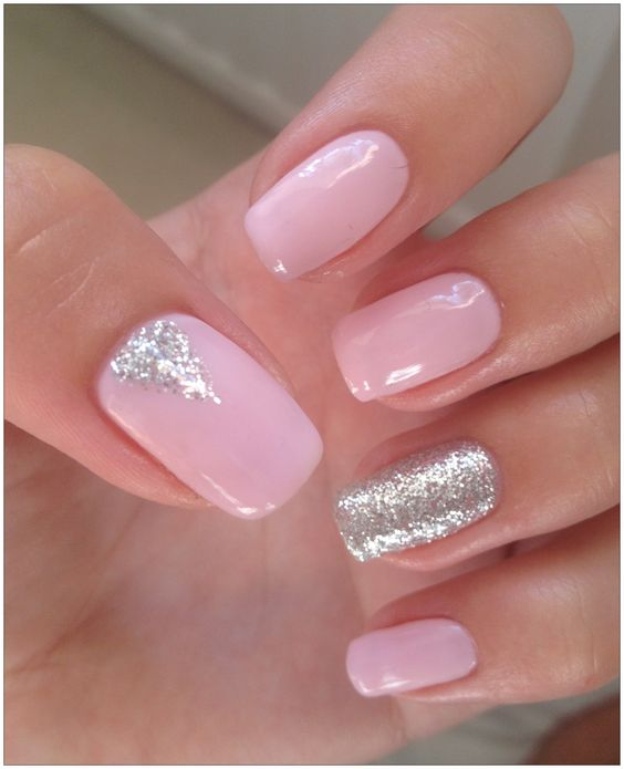 30Silver Glitters On Pink Nails - 30 Pretty Pink Nails Nail Design Ideaz