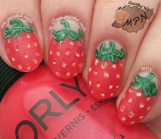 Textured Strawberry Nail Design