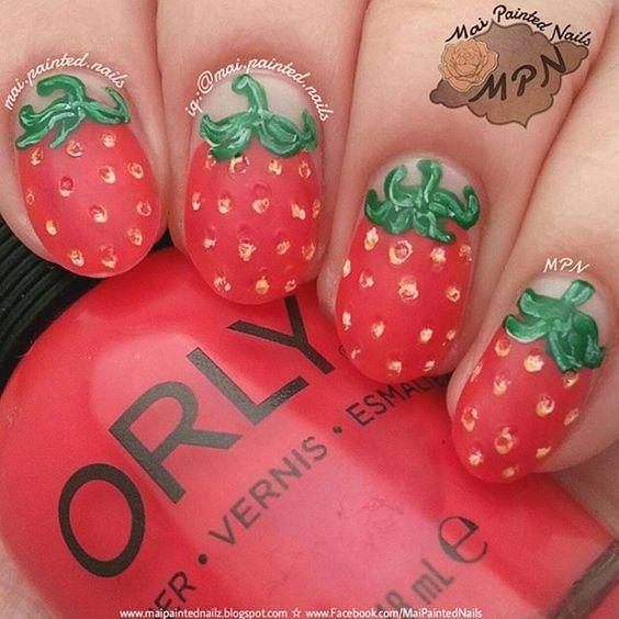 35 Tasty Strawberry Nails