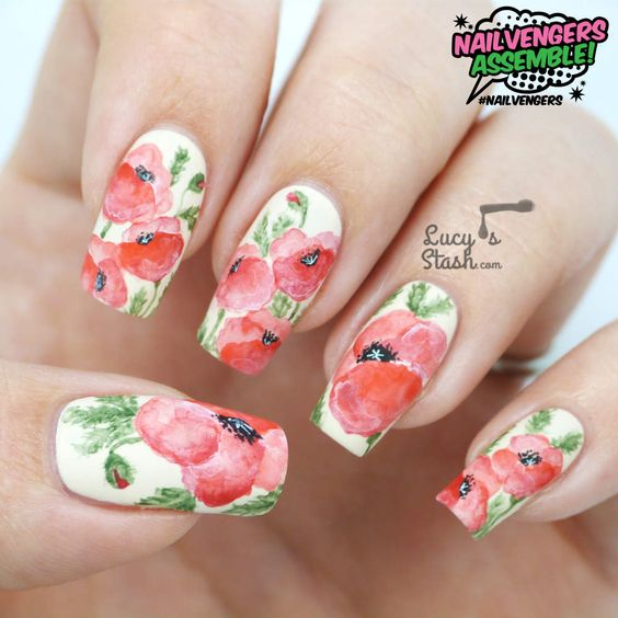 35 Attractive Flower Designs For Nails